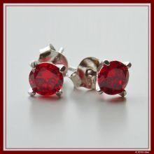 Diamant-Ohrstecker rubinrot
